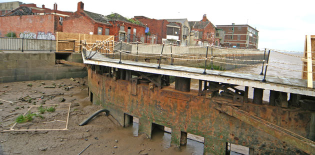 The now derelict lock gates of St. Andrew's Dock