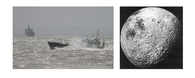 Boat in Sea and Moon